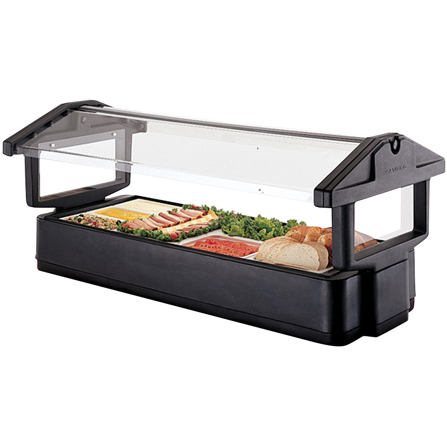 Cambro 4FBRTT110 4' Black Table Top Food / Salad Bar with Sneeze Guard