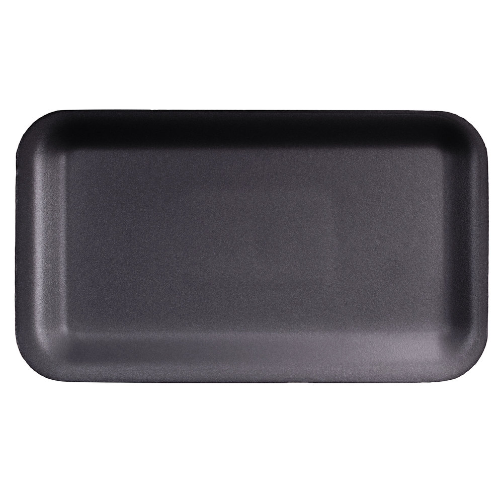 "Genpak 1017S (#17S) Black 8 1/4"" x 4 3/4"" x 1/2"" Foam Supermarket Tray - 500 / Case"