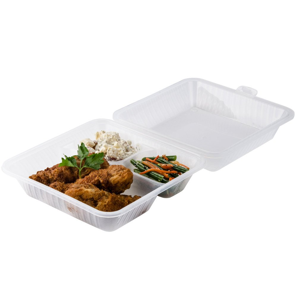 "GET EC-09 9"" x 9"" x 3 1/2"" Clear 3-Compartment Reusable Eco-Takeouts Container - 12/Case"
