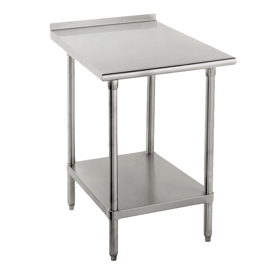 "Advance Tabco FLAG-302-X 30"" x 24"" 16 Gauge Stainless Steel Work Table with 1 1/2"" Backsplash and Galvanized Undershelf"