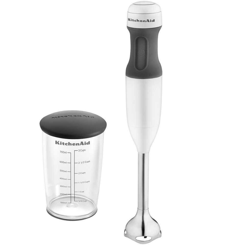 "KitchenAid KHB1231WH White 2 Speed Hand Blender with 8"" Shaft and 3 Cup Jar"