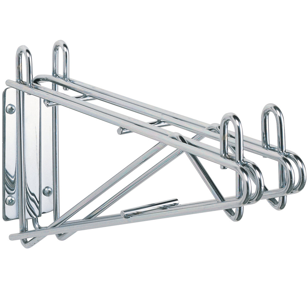 "Metro 2WD18S Super Erecta Stainless Steel Double Direct Wall Mount Bracket for Adjoining 18"" Shelves"
