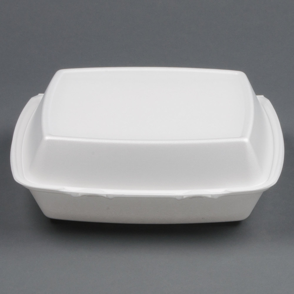 "Dart Solo 110HT3 10"" x 9 1/2"" x 3 1/2"" White Foam 3 Compartment Hinged Lid Container - 100/Pack"