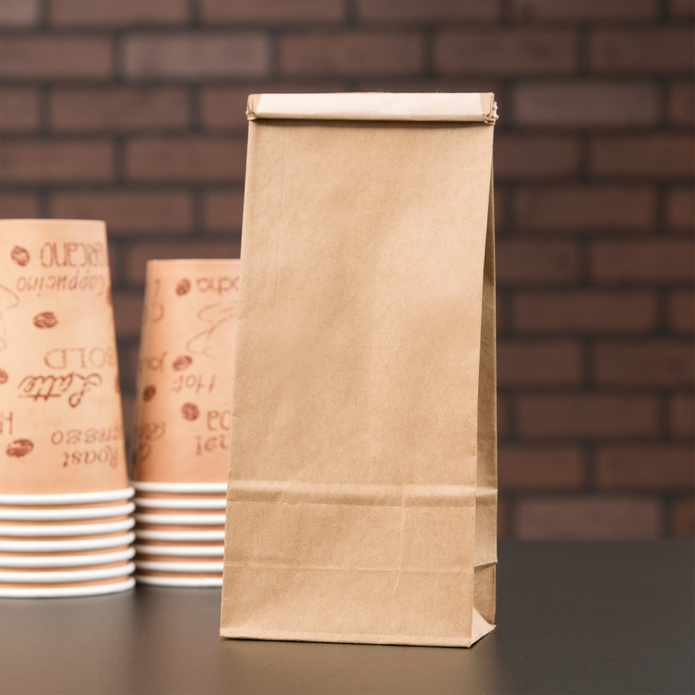 1 lb. Brown Customizable Tin Tie Reclosable Paper Coffee Bag - 100/Pack