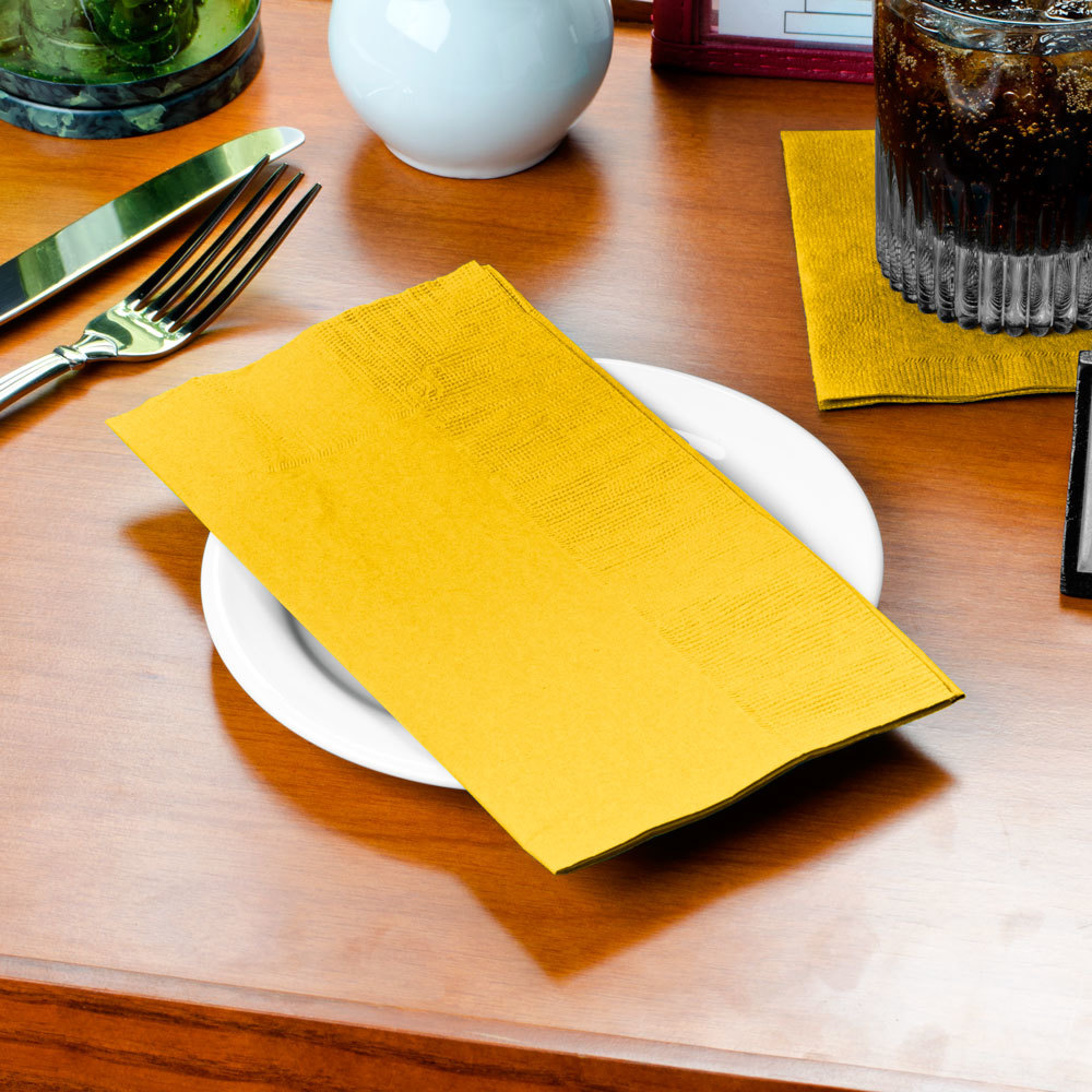 "Choice 15"" x 17"" Sunny Yellow 2-Ply Paper Dinner Napkin - 125/Pack"