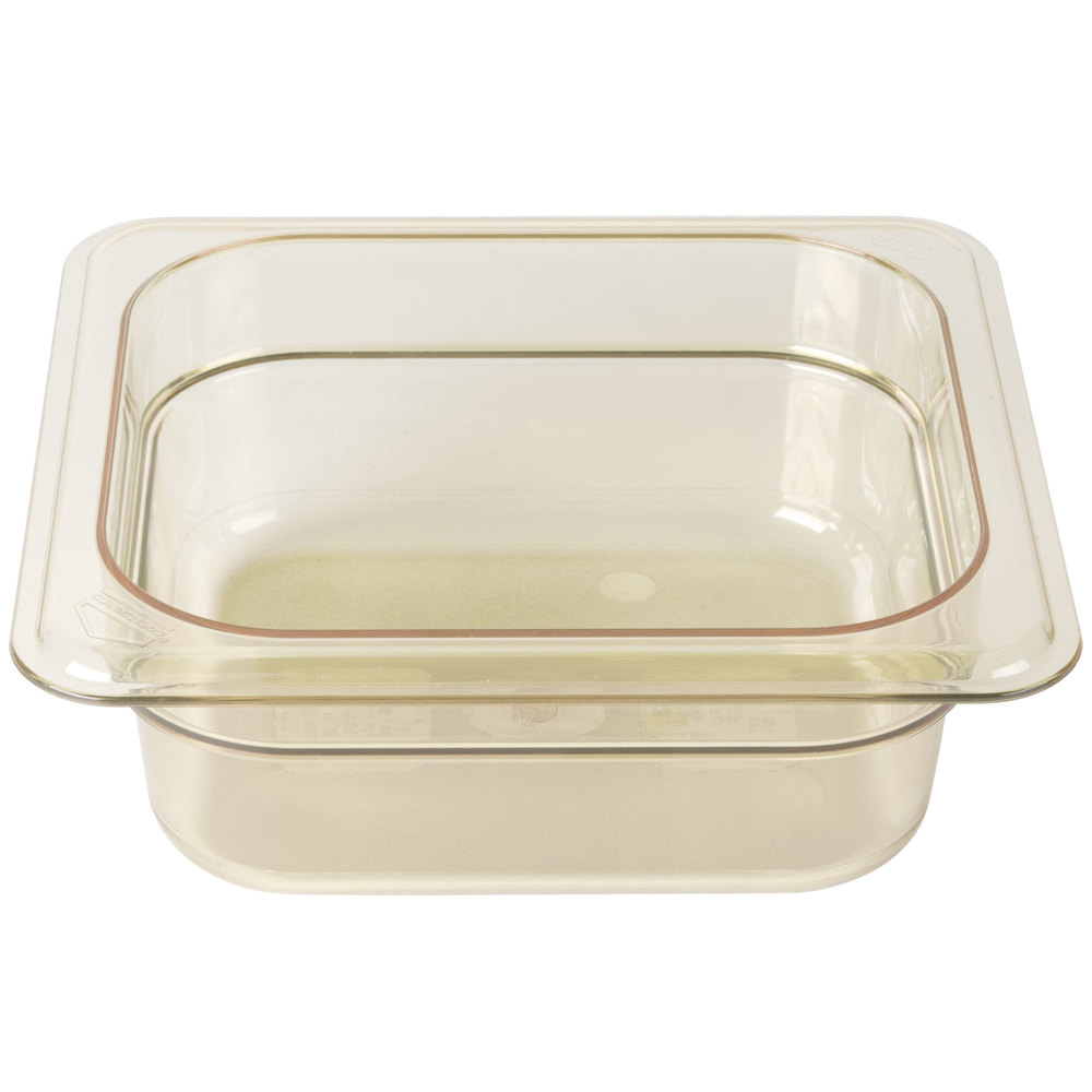 "Cambro 62HP150 H-Pan 1/6 Size Amber High Heat Food Pan - 2 1/2"" Deep"