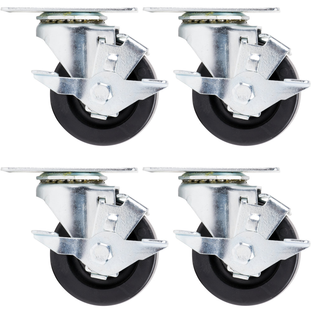 "Beverage Air 00C26-012A 3"" Plate Casters - 4/Set"