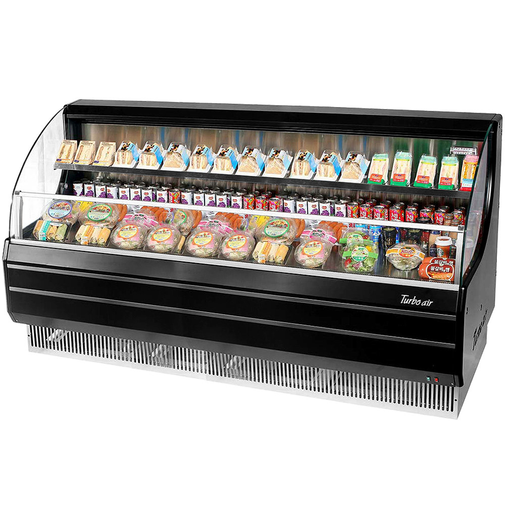 "Turbo Air TOM-75LB Black 75"" Low Profile Horizontal Air Curtain Display Case - 17.7 Cu. Ft."
