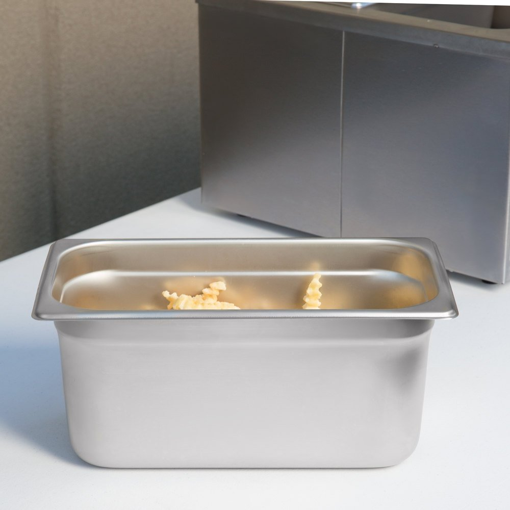 "1/3 Size Standard Weight Anti-Jam Stainless Steel Steam Table / Hotel Pan - 6"" Deep"