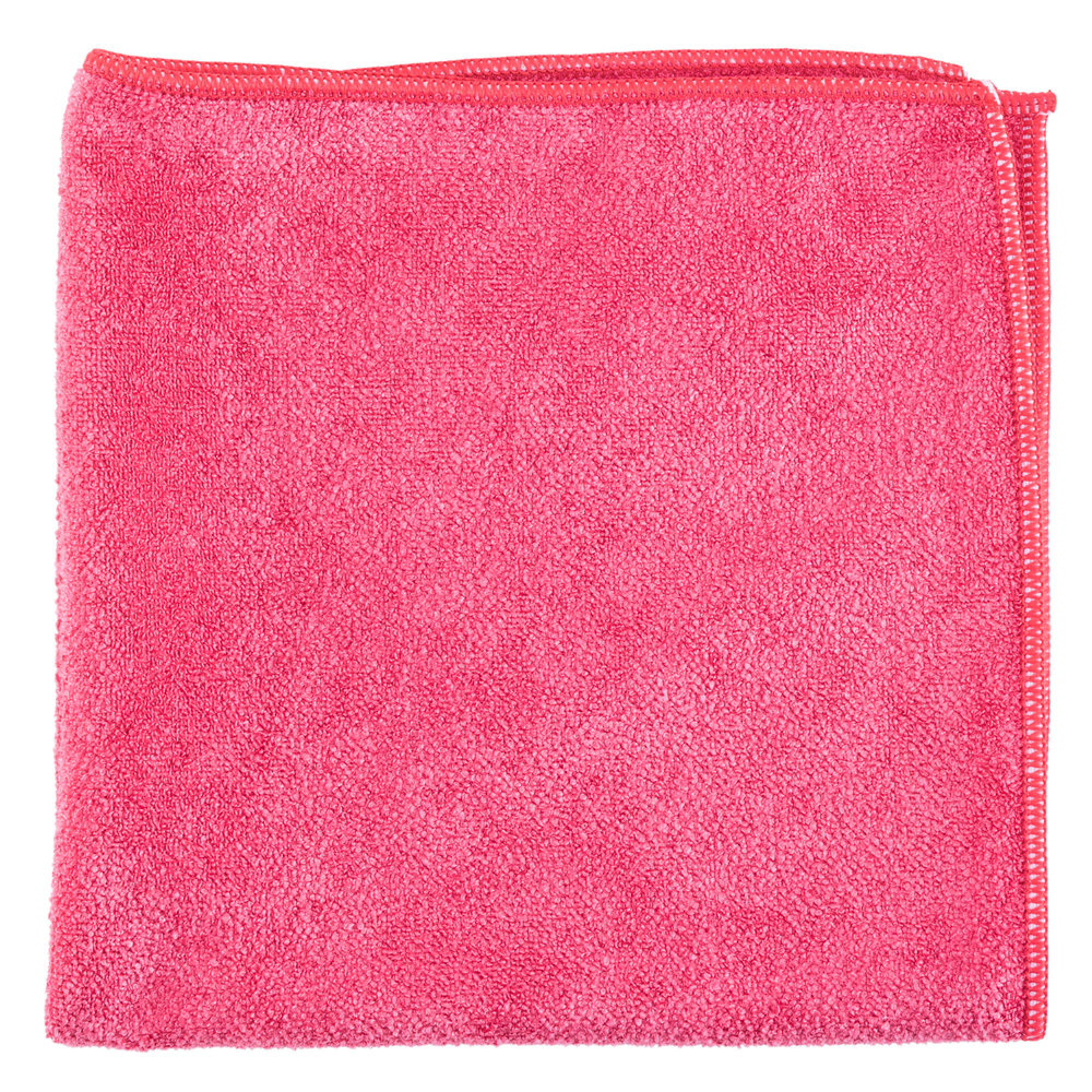 "Unger MB40R SmartColor MicroWipe 16"" x 16"" Red Medium-Duty Microfiber Cleaning Cloth"