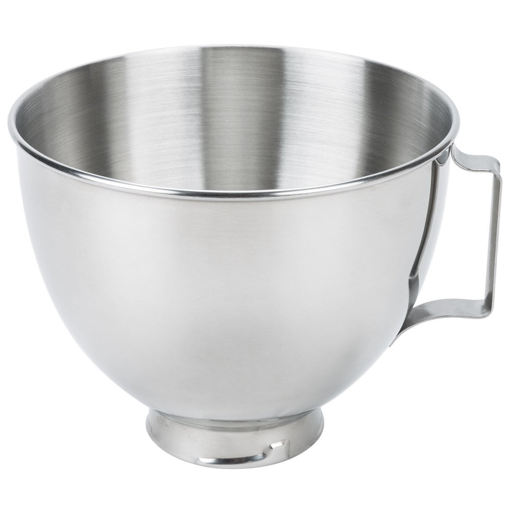 KitchenAid K45SBWH Stainless Steel 4.5 Qt. Mixing Bowl with Handle for Stand Mixers