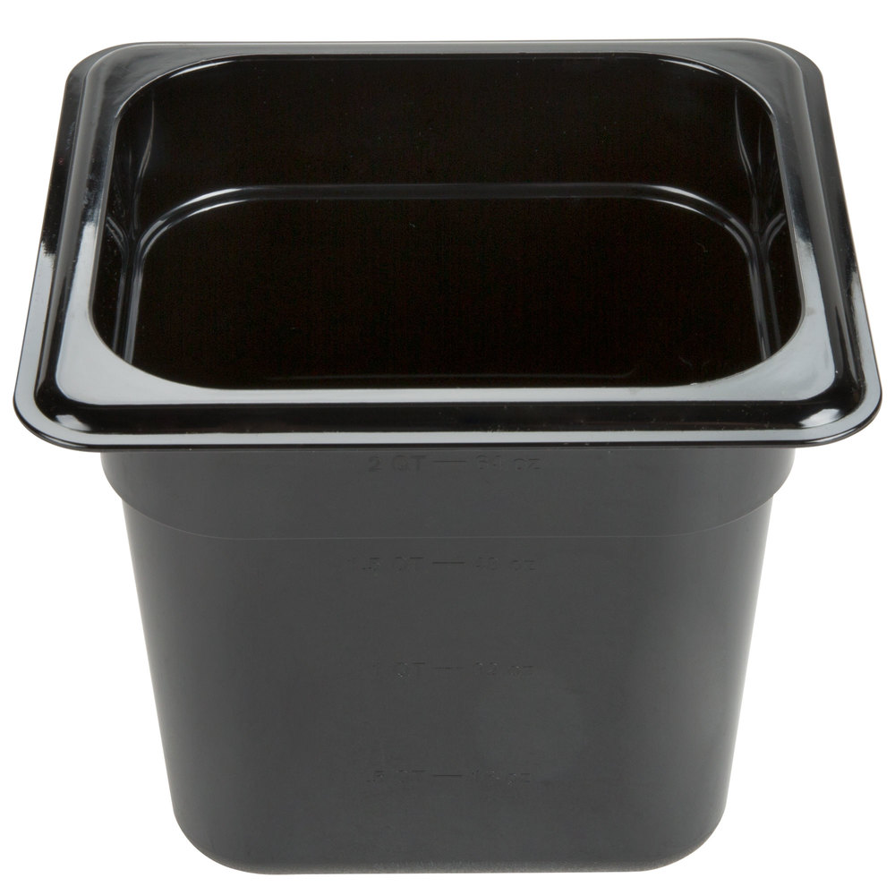 "Carlisle 3068503 StorPlus 1/6 Size Black Food Pan - 6"" Deep"
