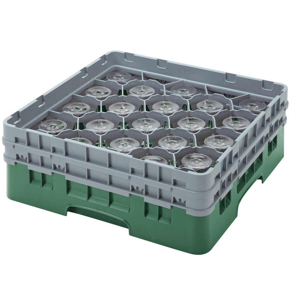 "Cambro 20S800119 Camrack 8 1/2"" High Green 20 Compartment Glass Rack"