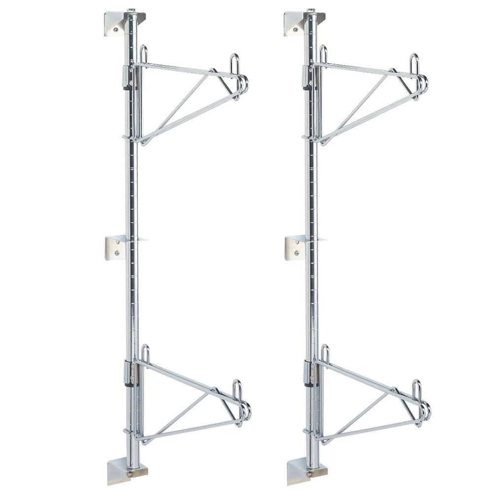 "Metro SW23C Super Erecta Chrome Double Level Post-Type Wall Mount End Unit for 14"" Deep Shelf"