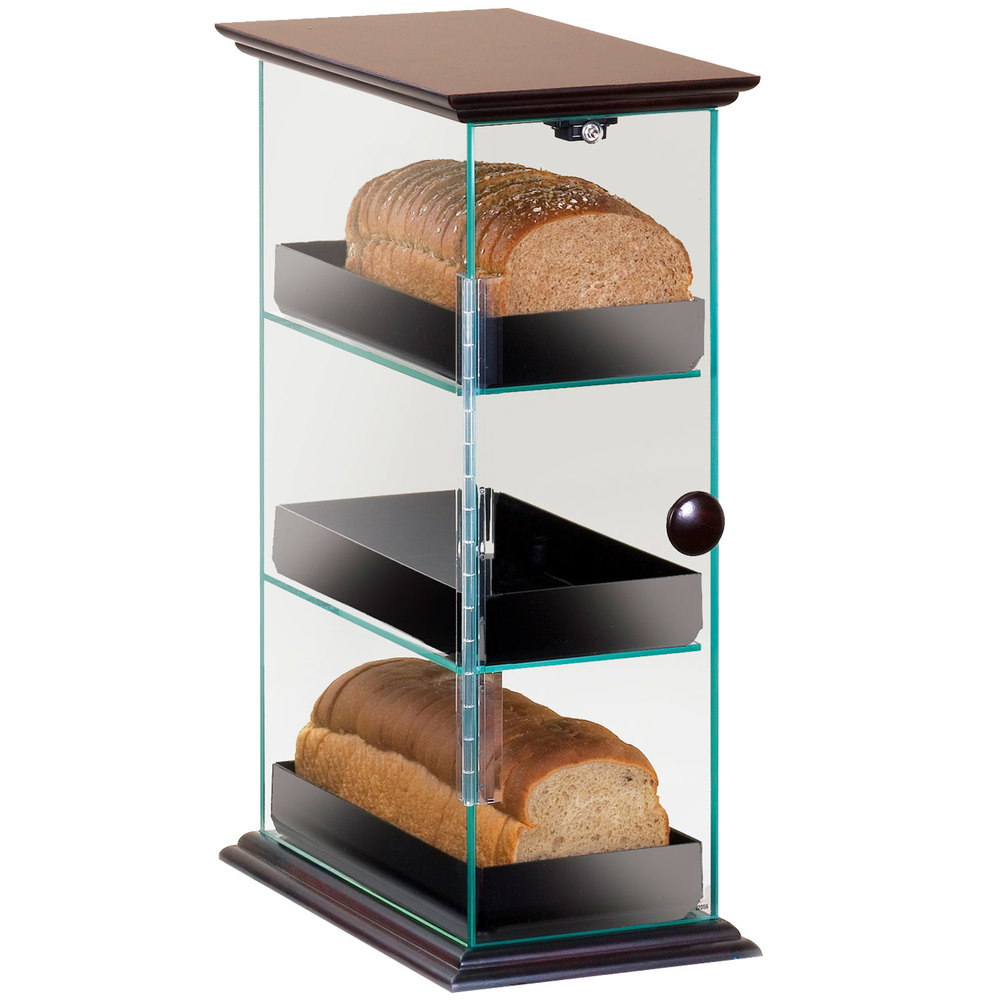 Cal-Mil 1204-52 Three Tier Bread Display Case with Wood Top and Base