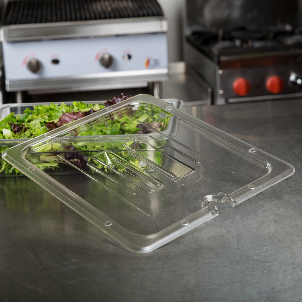 1/2 Size Clear Polycarbonate Food Pan Lid with Spoon Notch and Handle
