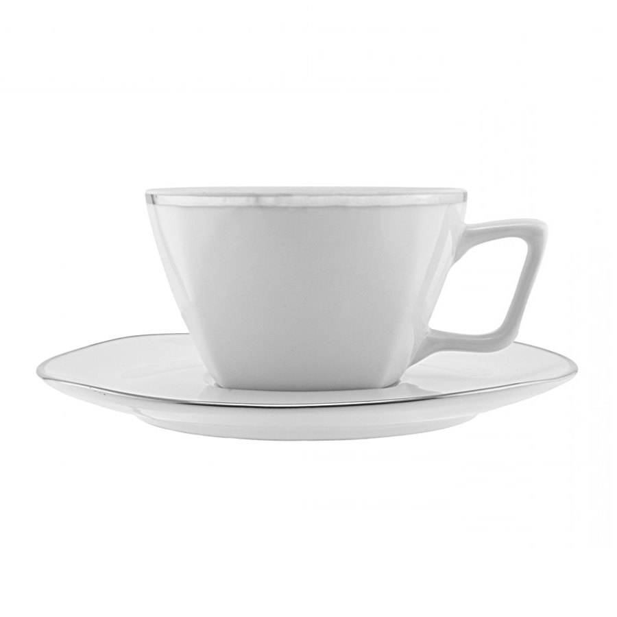 10 Strawberry Street LOTUS-9SL 6 oz. Lotus Silver Line Cup with Saucer - 24 / Case