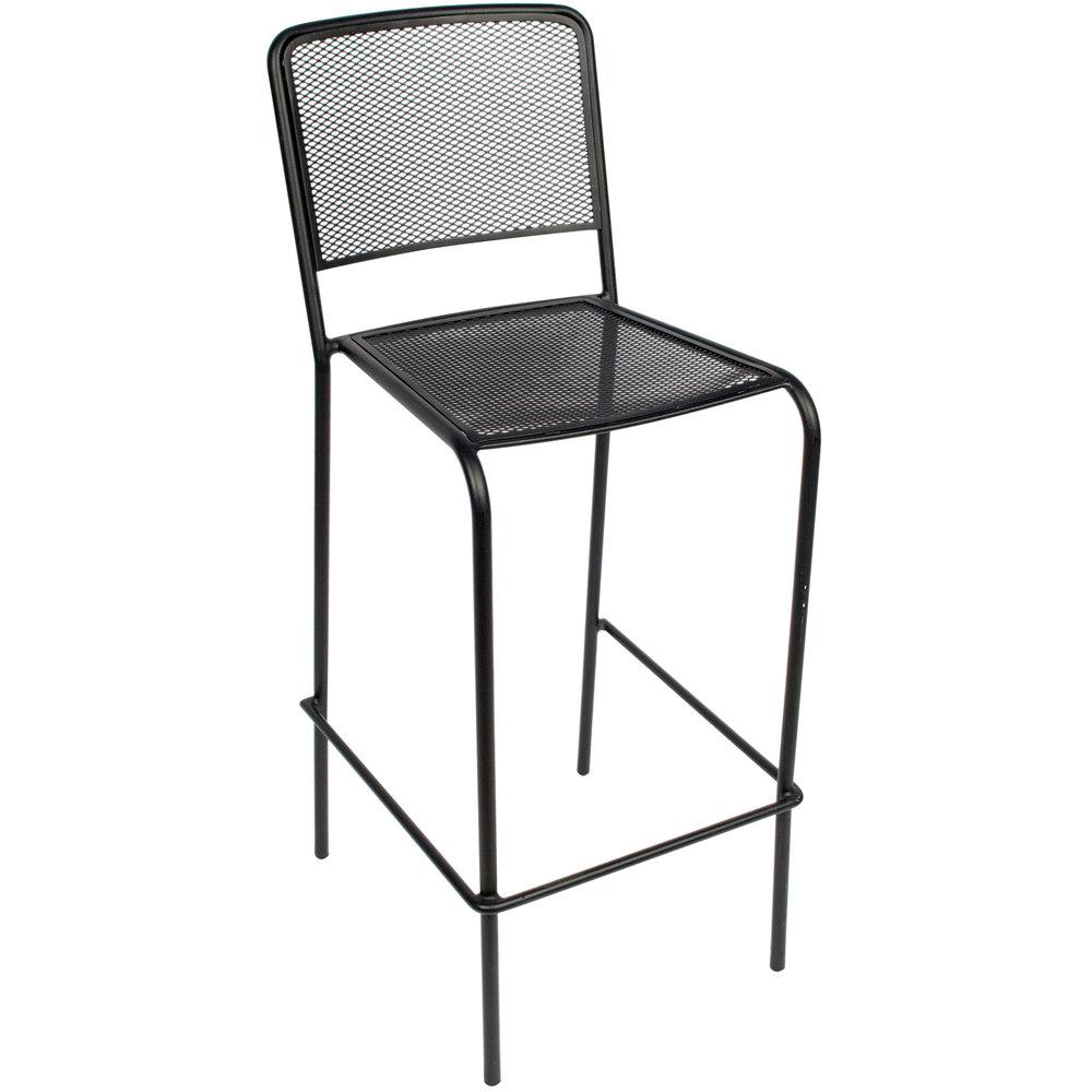 BFM Seating SU1300BBL Chesapeake Outdoor / Indoor Stackable Black Steel Bar  Height Chair