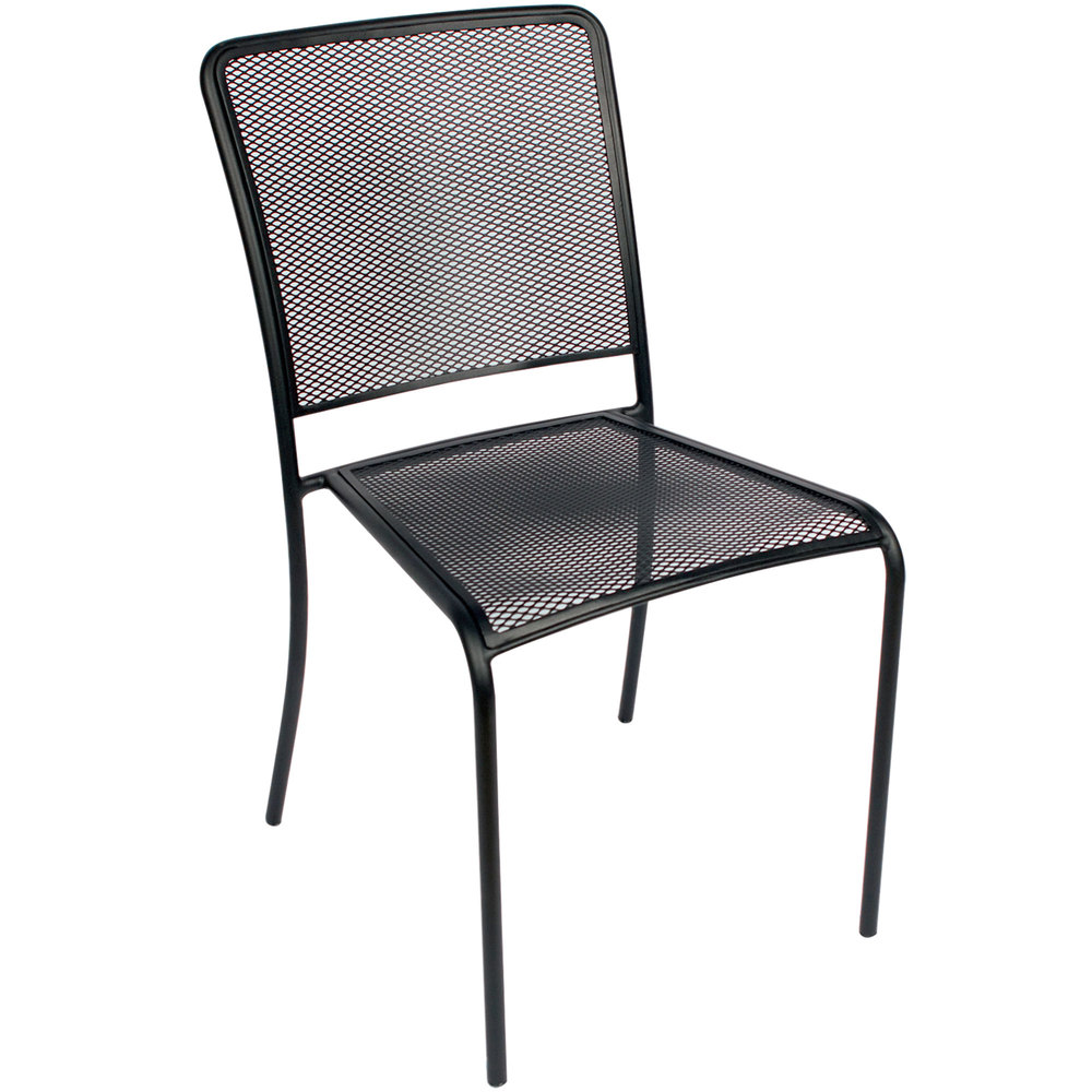BFM Seating SU1300CBL Chesapeake Outdoor Indoor Stackable Black Steel Side
