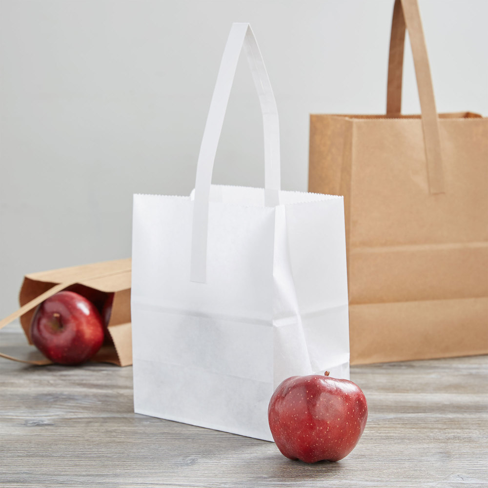 "1/2 Peck ""Sophomore"" White Kraft Paper Produce Customizable Market Stand Bag with Handle - 500/Case"