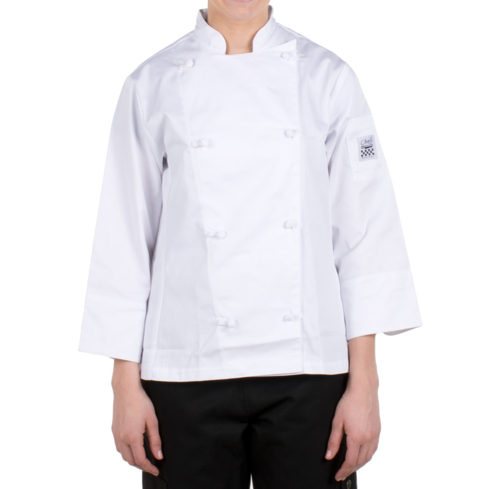 Chef Revival LJ028-S Knife and Steel Size 4 (S) White Customizable Ladies Long Sleeve Chef Jacket - Poly-Cotton Blend with Cloth Knot Buttons