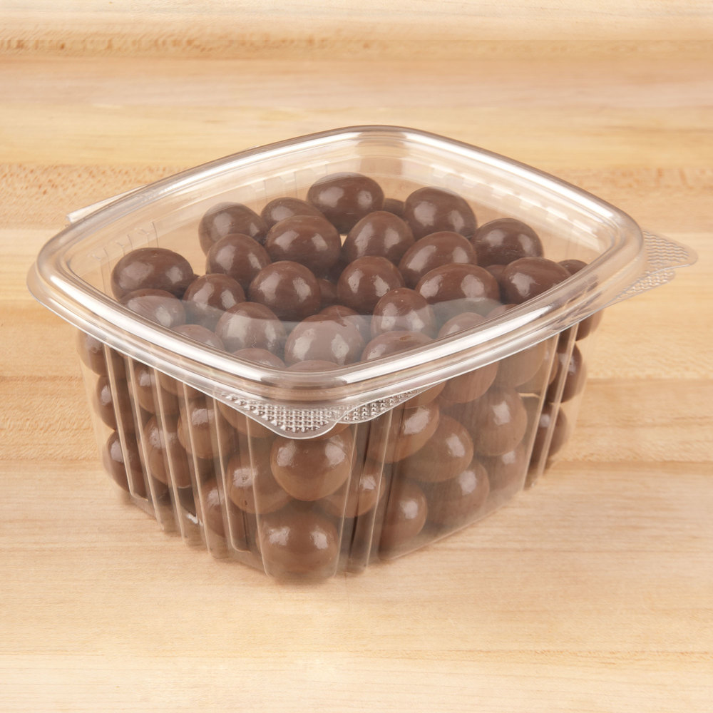"Genpak AD16 5 3/8"" x 4 1/2"" x 2 5/8"" 16 oz. Clear Hinged Deli Container - 100/Pack"