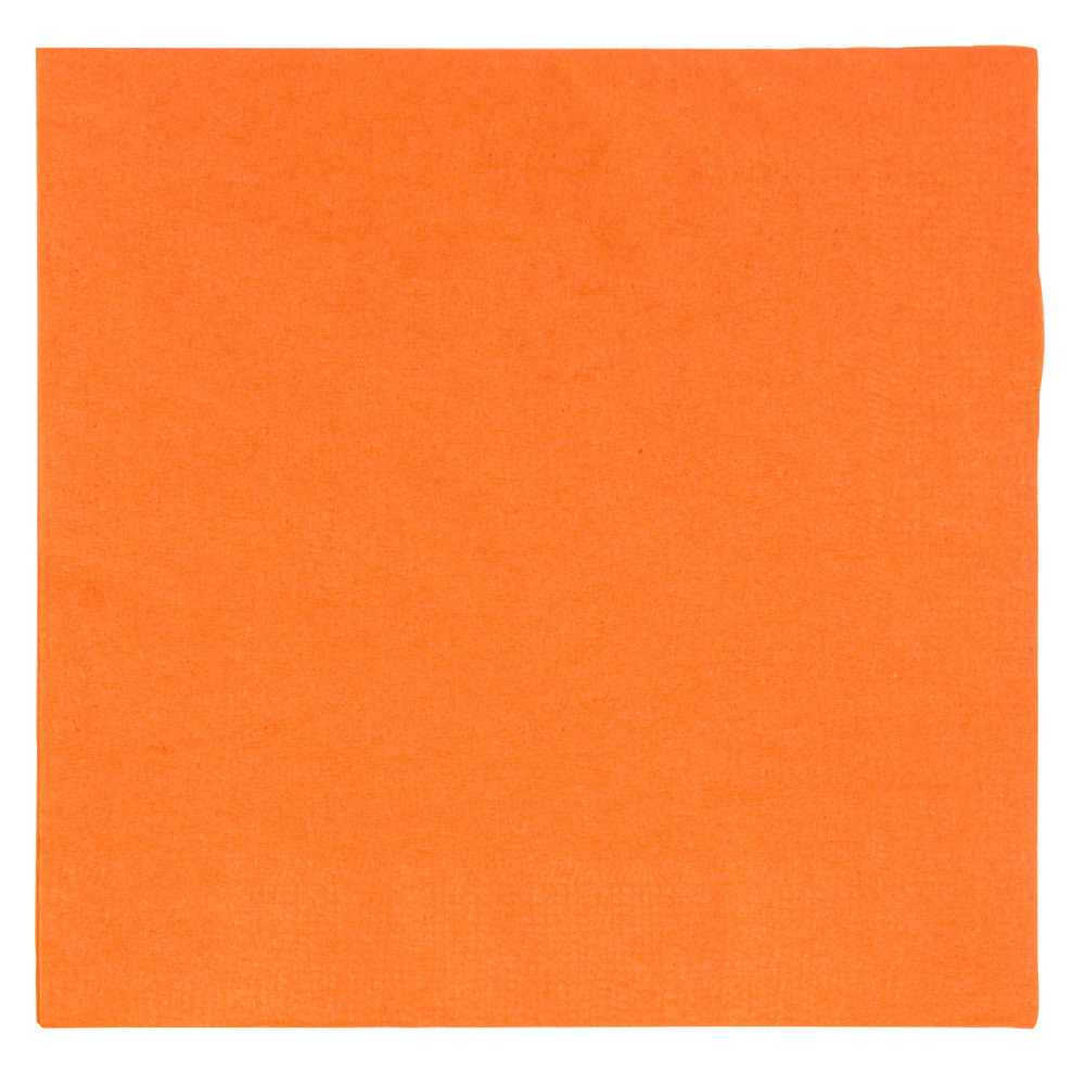 "Choice 10"" x 10"" Orange 2-Ply Beverage / Cocktail Napkins - 250/Pack"