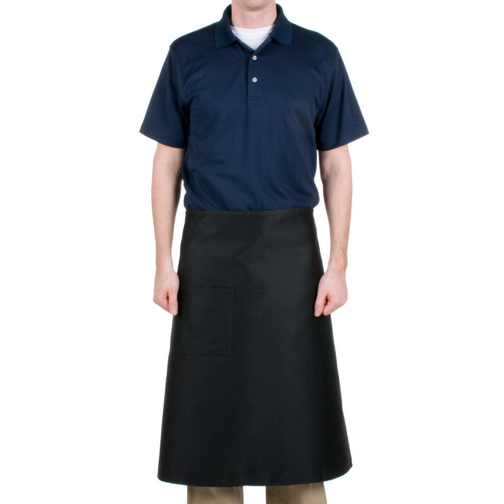 "Chef Revival 607BA-BK Customizable Long Black Crew Bistro Apron with One Pocket - 34""L x 28""W"