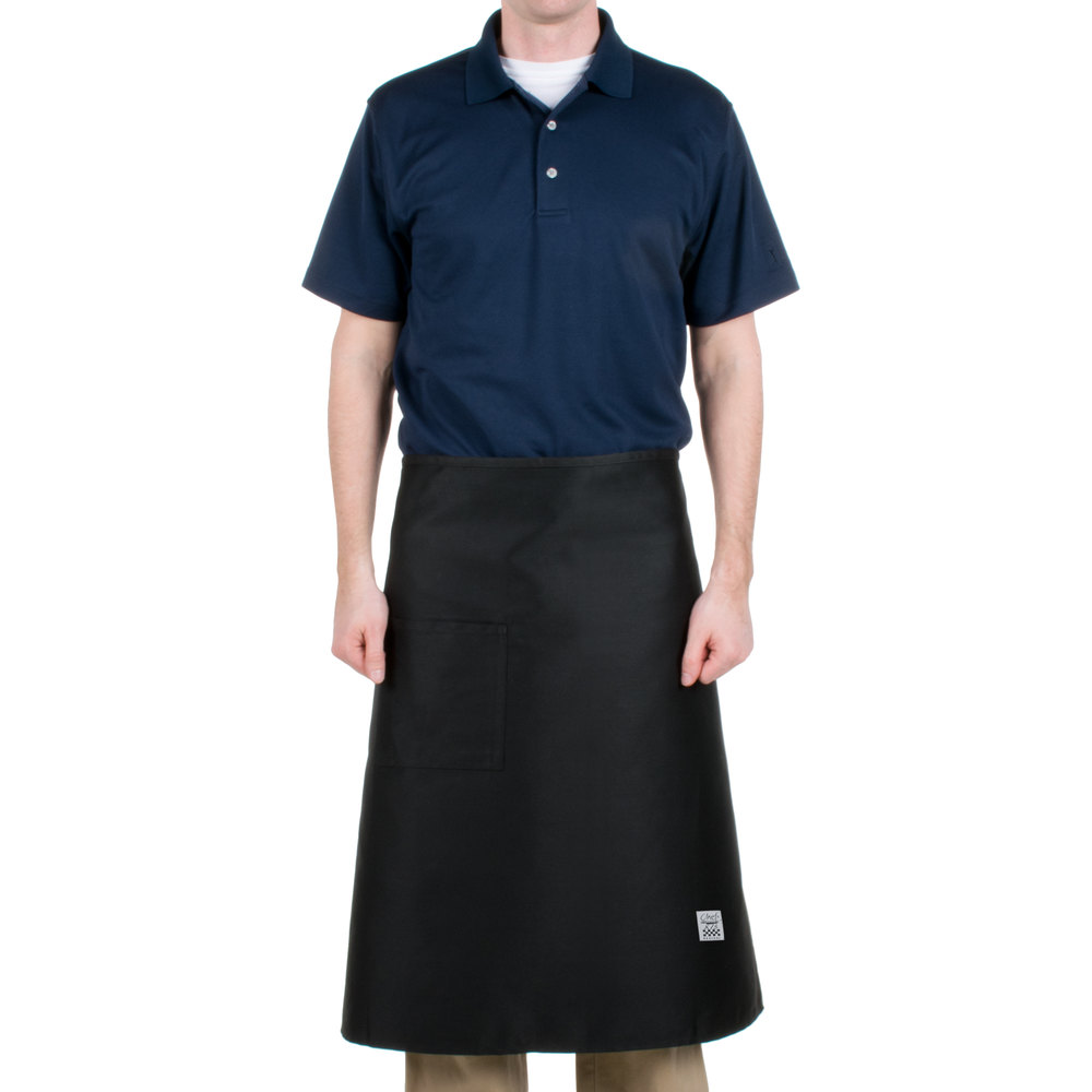 "Chef Revival 607BA-BK Customizable Long Black Crew Bistro Apron with One Pocket - 30""L x 33""W"