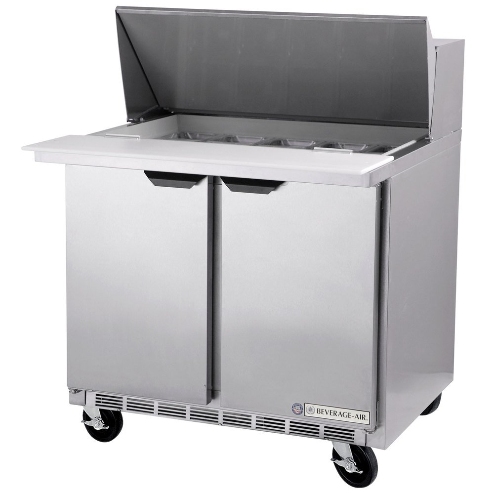 "Beverage Air SPE36-12M 36"" Mega Top Refrigerated Salad / Sandwich Prep Table"