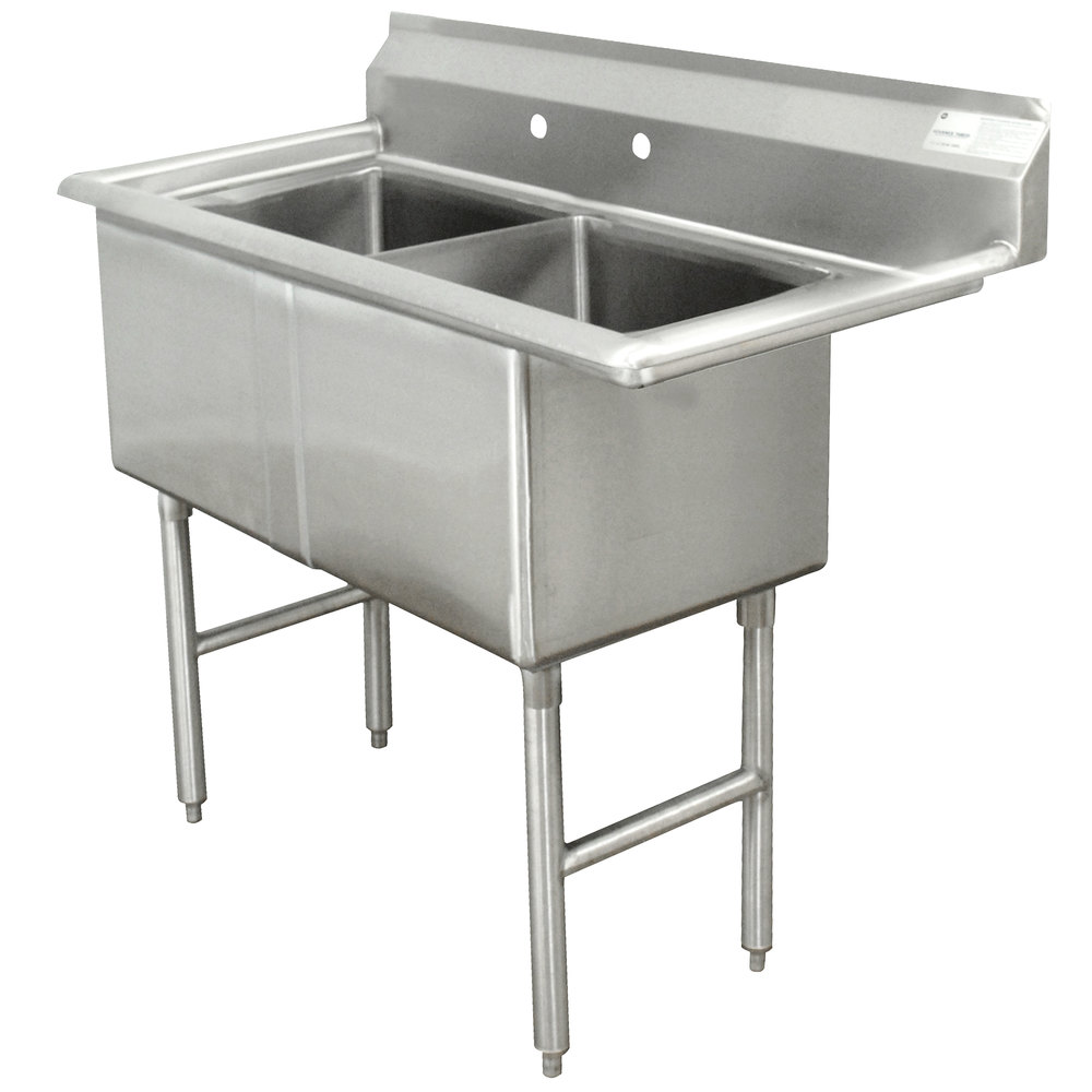 Advance Tabco FC-2-1818 Two Compartment Stainless Steel Commercial Sink - 41""