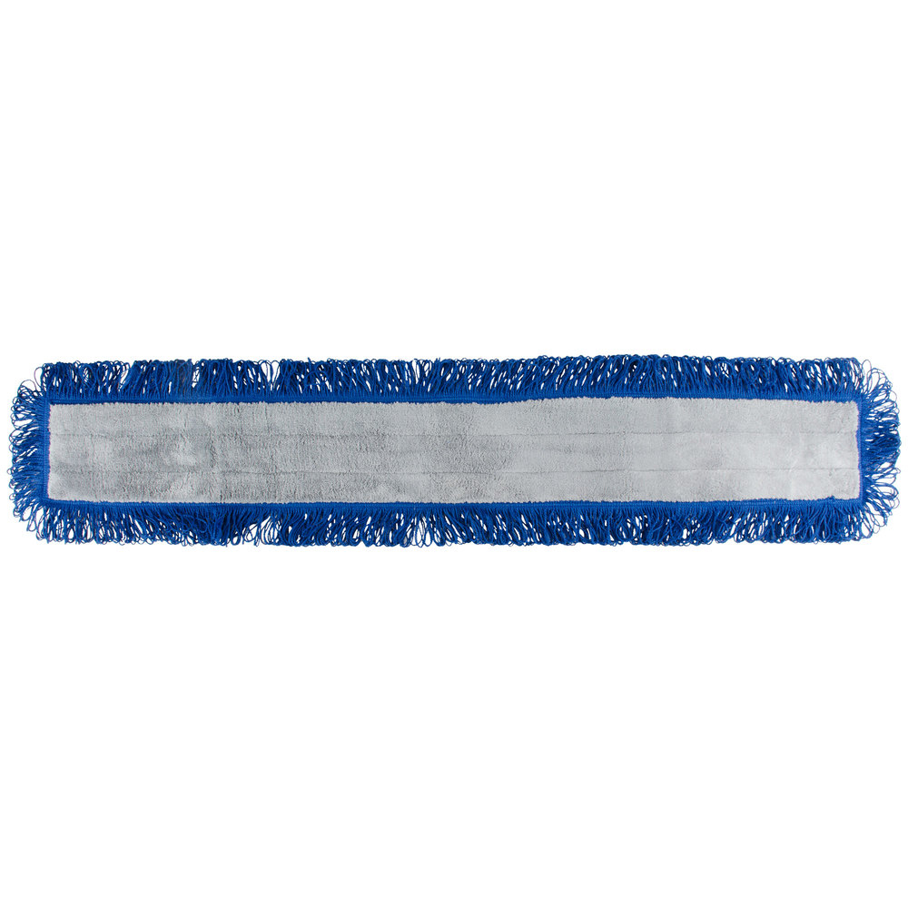 "48"" Blue Microfiber Dry Pocket Dust Mop with Canvas Back"