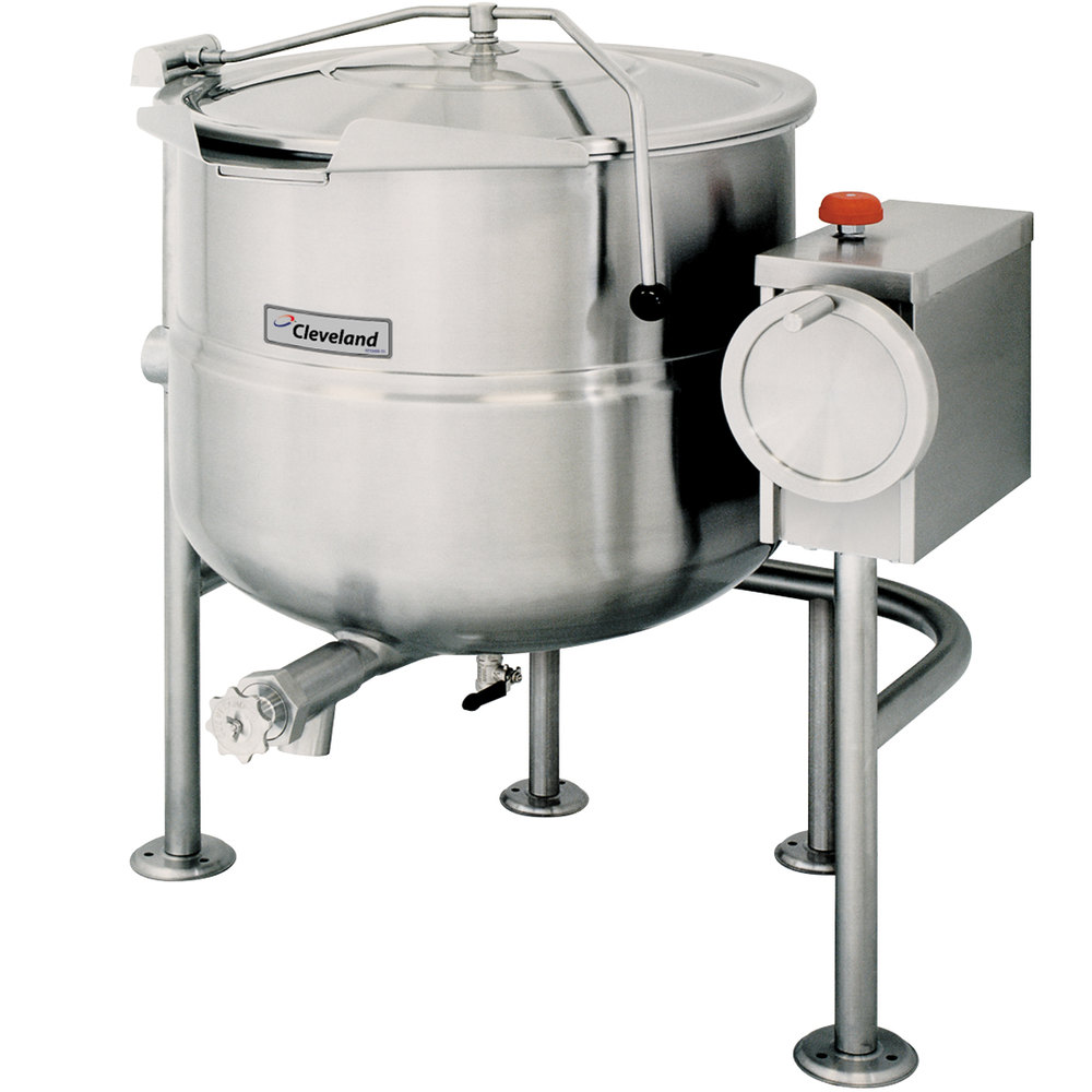 Cleveland KDL-125-T 125 Gallon Tilting 2/3 Steam Jacketed Direct Steam Kettle