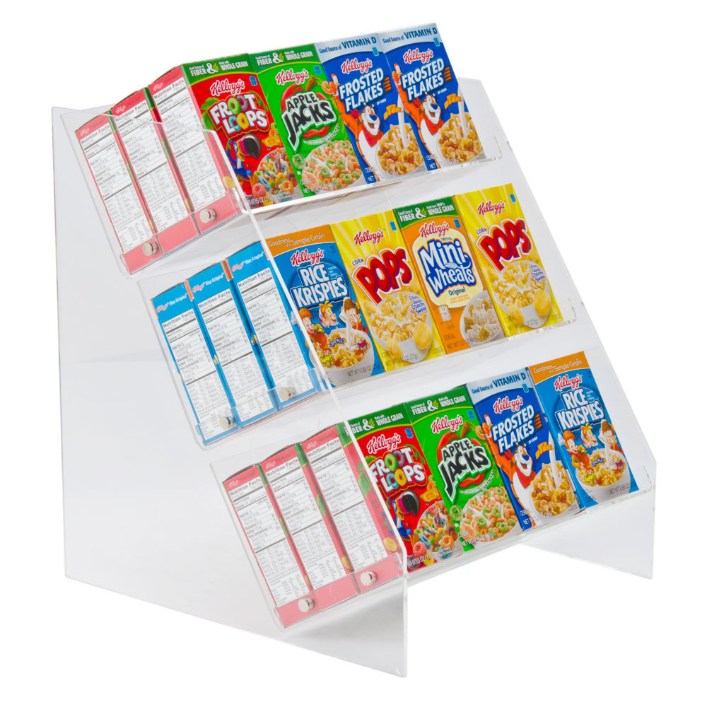 3 shelf acrylic counter top cereal organizer holds 36 for Cereal organizer