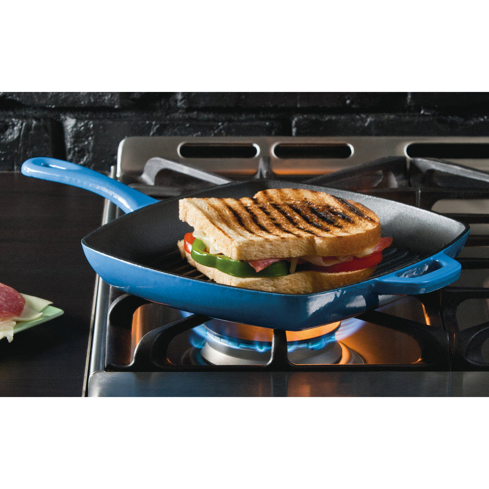 "Lodge ECSGP33 10"" Square Caribbean Blue Color Enamel Grill Pan"