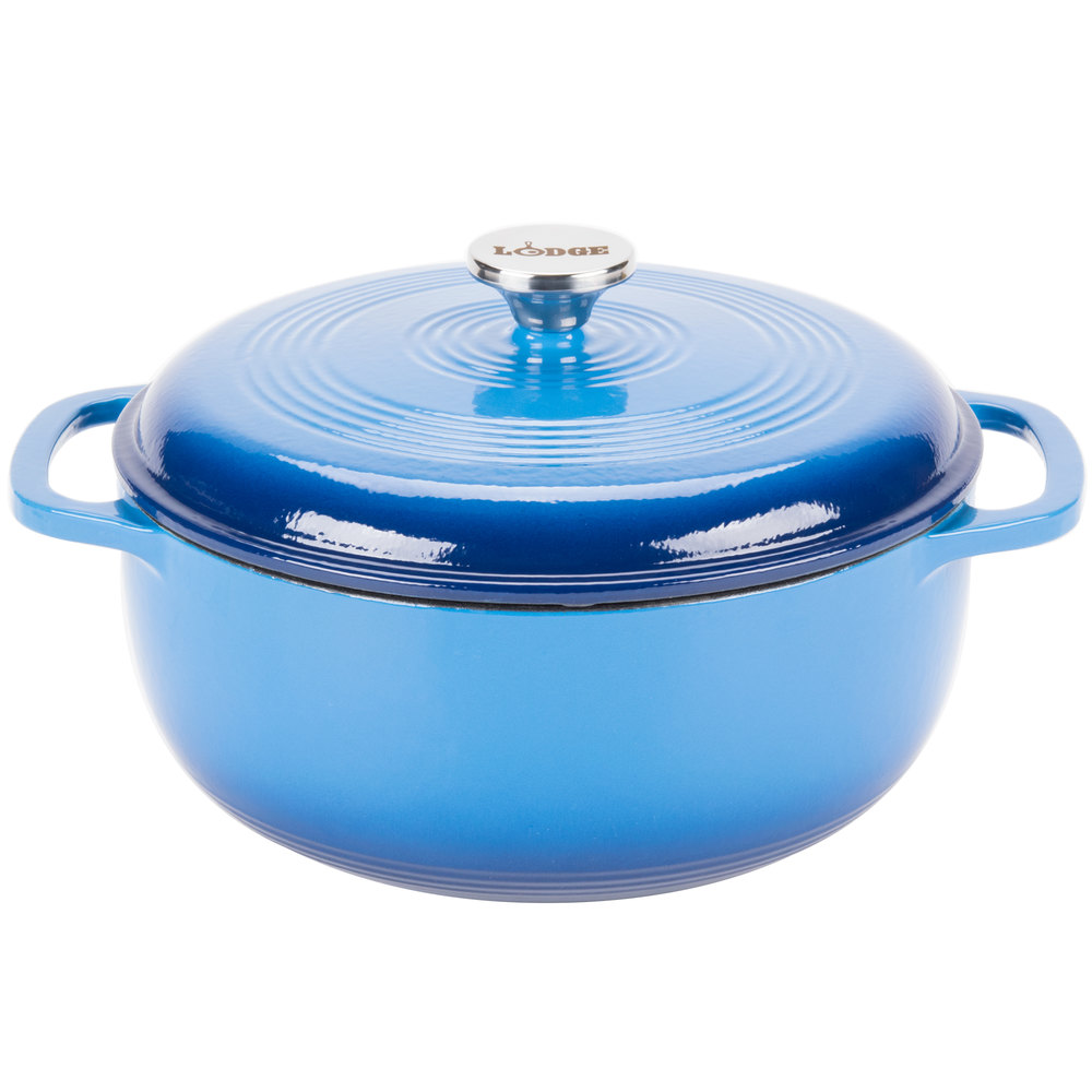 Lodge Ec6d33 6 Qt Caribbean Blue Color Enamel Dutch Oven