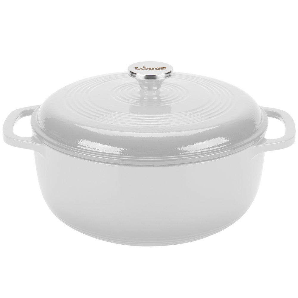 lodge ec6d13 6 qt oyster white color enamel dutch oven. Black Bedroom Furniture Sets. Home Design Ideas