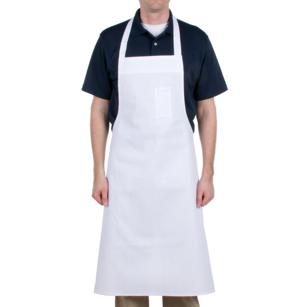 "Chef Revival 610BAC Customizable Economy White Cotton Bib Apron with Pen Pocket - 37""L x 40""W"
