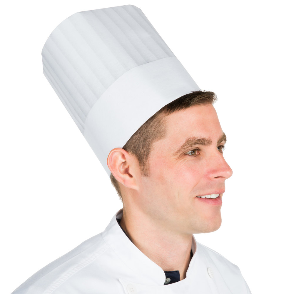 "Chef Revival H049 8 1/2"" Pinstripe Chef Hat with Adhesive Closure - 50/Pack"