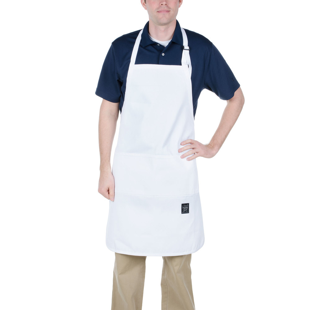 "Chef Revival 401BA 34"" x 25"" Customizable Knife & Steel White Bib Apron with Full Front Pocket"