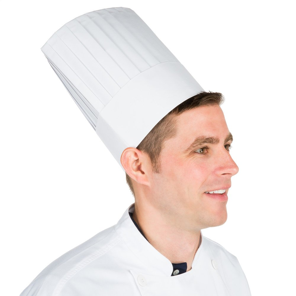 "Chef Revival DCH100 9"" Pleated Euro Style Paper Chef Hat - 25/Pack"