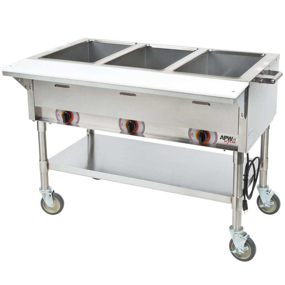 Apw Wyott Psst3s Portable Steam Table Three Pan Sealed