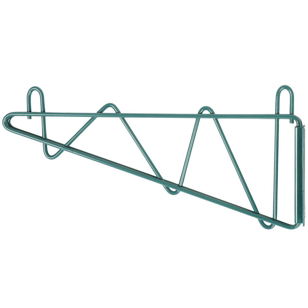 "Regency 14"" Deep Wall Mounting Bracket Set for Green Epoxy Wire Shelving - 2/Pack"