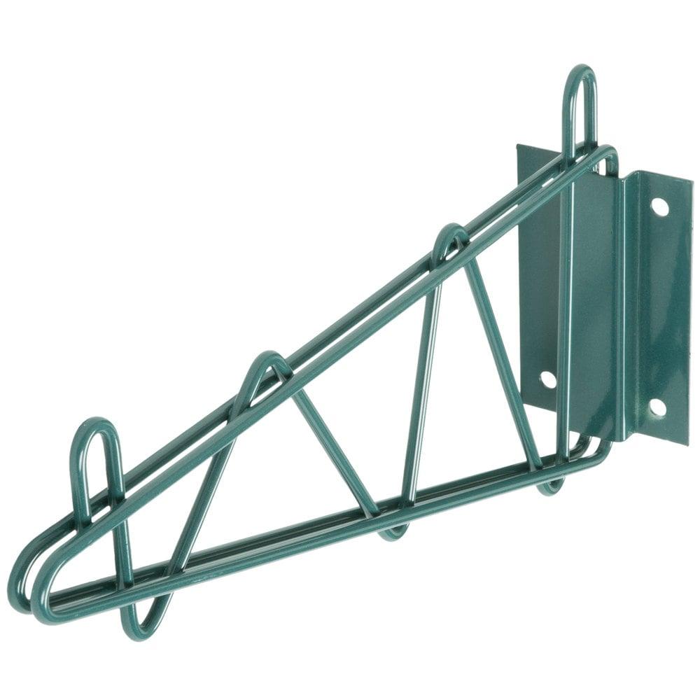 Regency 14 inch Deep Wall Mounting Bracket for Green Epoxy Wire Shelving - 2/Set