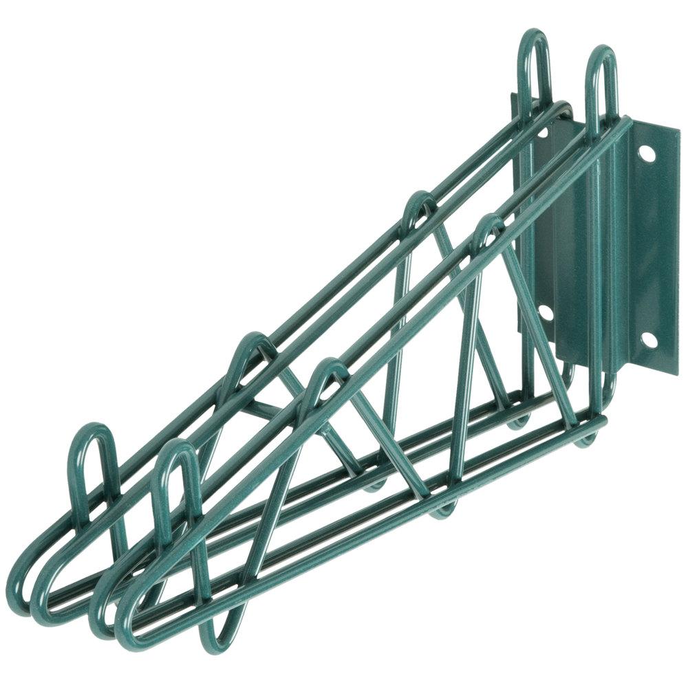 Regency 14 inch Deep Double Wall Mounting Bracket for Adjoining Green Epoxy Wire Shelving