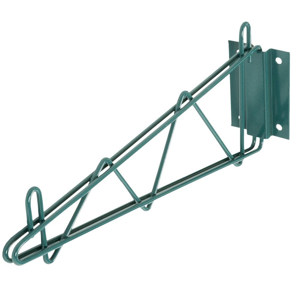 Regency 18 inch Deep Wall Mounting Bracket for Green Epoxy Wire Shelving - 2/Set