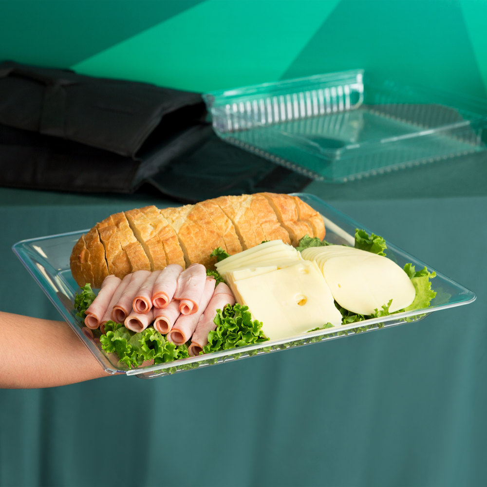 "Fineline Platter Pleasers 3516-CL 16"" x 16"" Plastic Clear Square Tray"