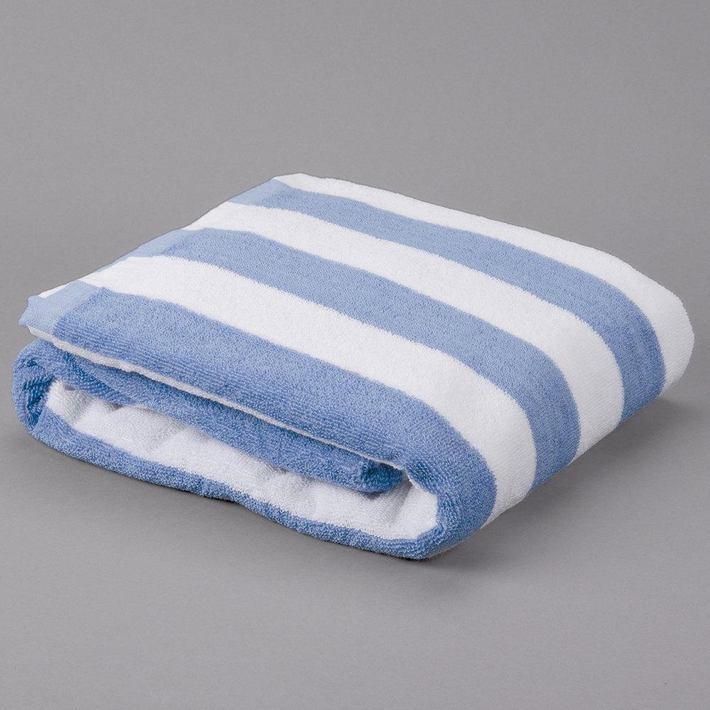 Pack Of 12 Blue Stripe 15 Lb Hotel Pool Towel 30 Quot X 70