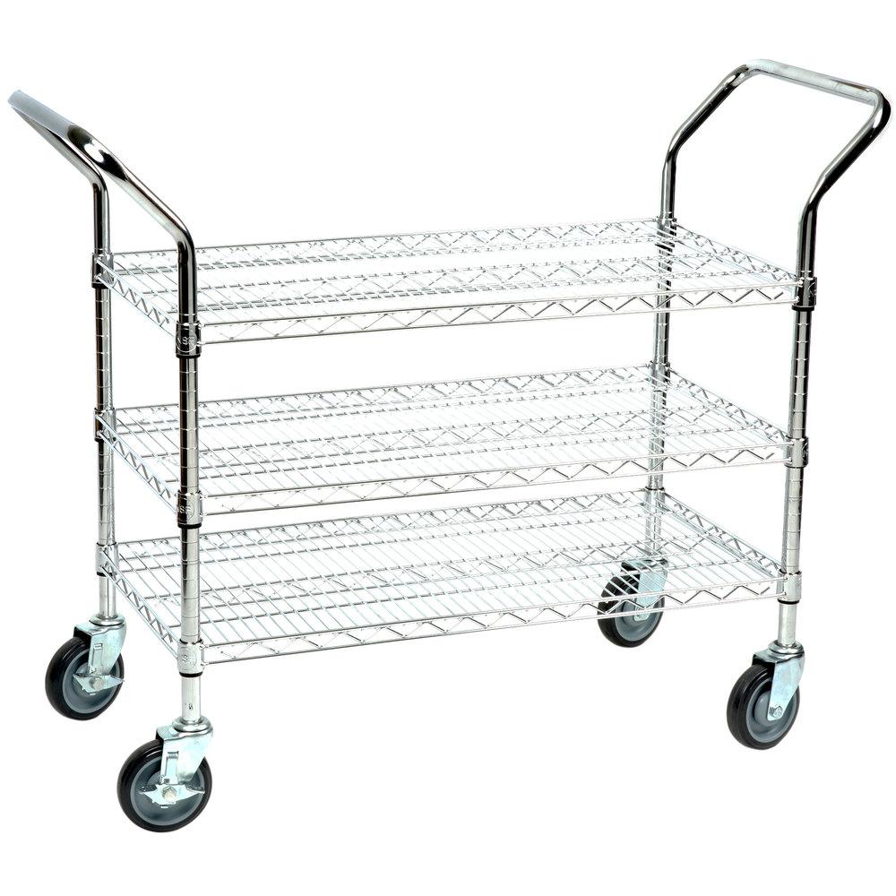 Regency 18 inch x 36 inch Three Shelf Chrome Heavy Duty Utility Cart