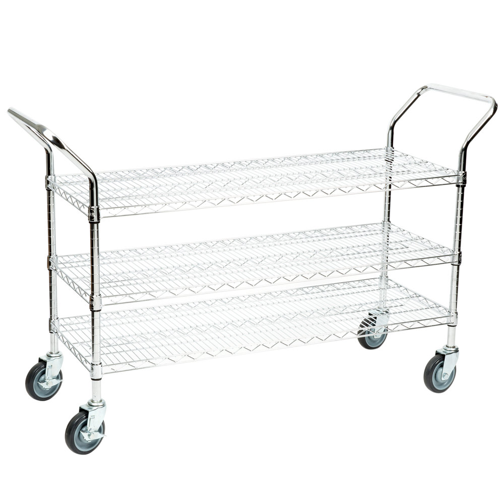"Regency 18"" x 42"" Three Shelf Chrome Heavy Duty Utility Cart"